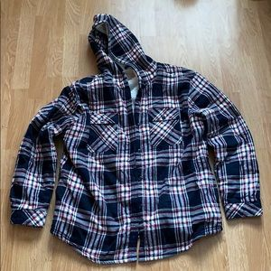 Sherpa lined flannel with hood